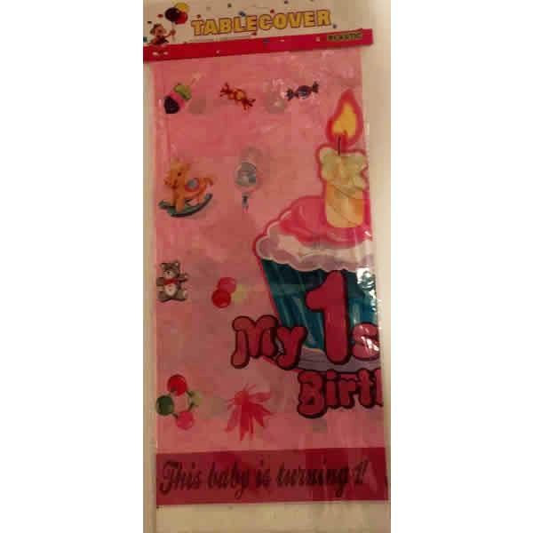 Party asztalterítő,1. születésnapom rózsaszín, muffinos
