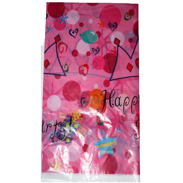 Party asztalterítő, 170*110, rózsaszín, happy party, koronás