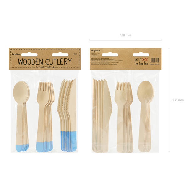 Evőeszköz , fából, világoskék nyél, 18/db (kanál, kés, villa)