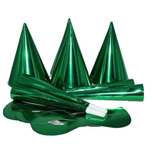 Party szett, 12 db-os, zöld, fényes