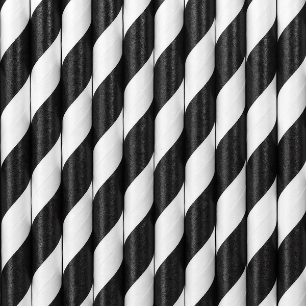 Szívószál, fekete-fehér csíkos, 10db/cs