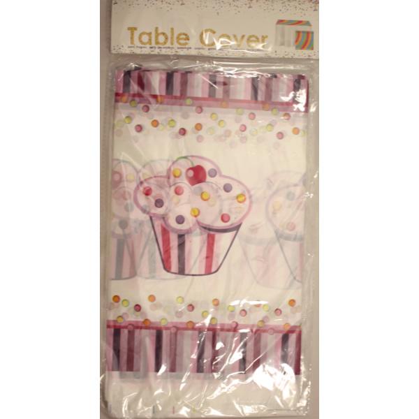 Party asztalterítő, 180*110, muffinos, rózsaszín