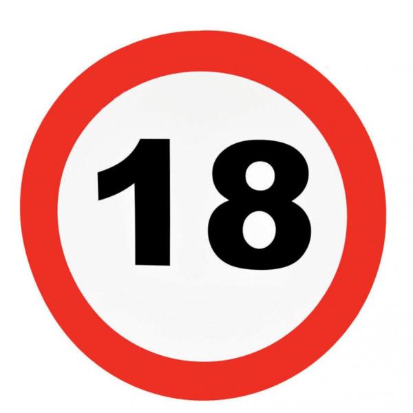 Fali dekor, behajtani tilos tábla, 18. születésnapra