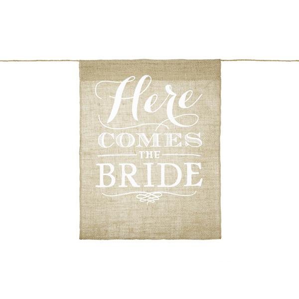 Zsákvászonból készült folyosójel, Itt jön a menyasszony