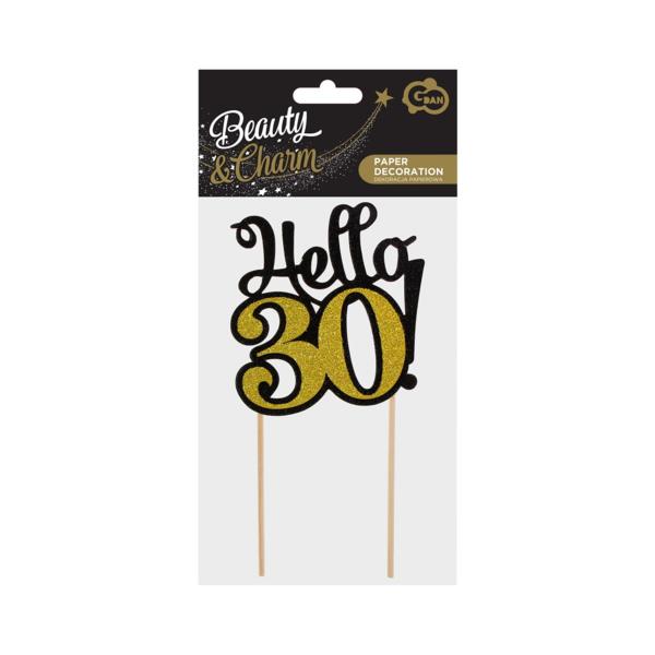 Glitteres papír dekoráció,  Hello 30, fekete-arany, 10x19 cm