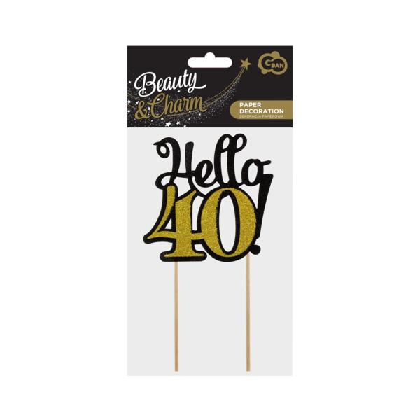 Glitteres papír dekoráció,  Hello 40, fekete-arany, 10x19 cm