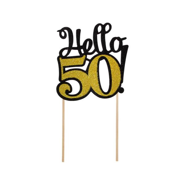 Glitteres papír dekoráció,  Hello 50, fekete-arany, 10x19 cm