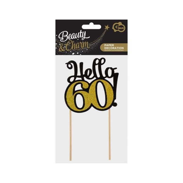 Glitteres papír dekoráció,  Hello 60, fekete-arany, 10x19 cm