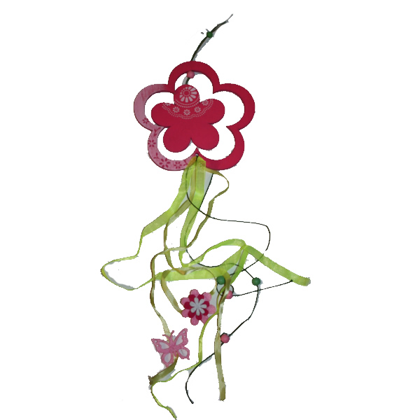 Színes függő dísz, virág, rózsaszín