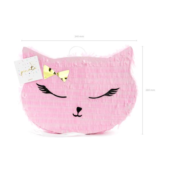Pináta, rózsaszín cica, 35x27x35 cm