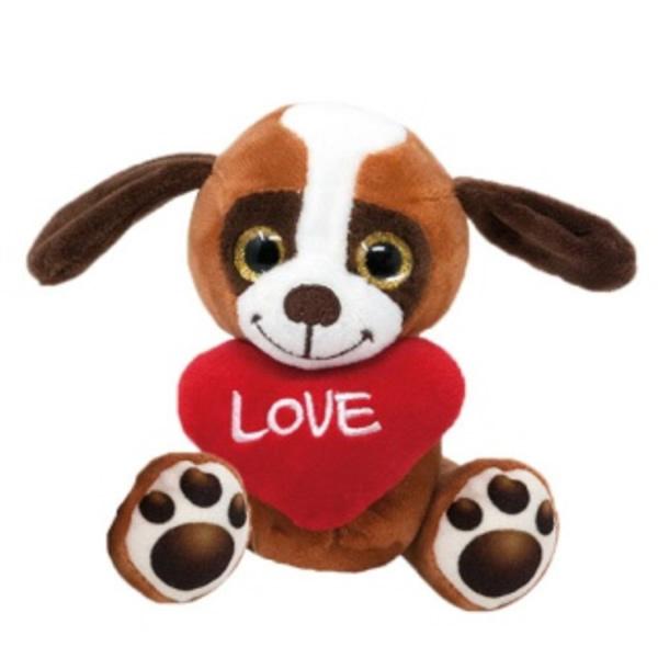 Plüss ülő kutya szívvel 14 cm, Basset
