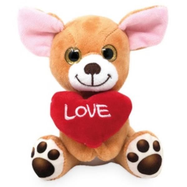 Plüss ülő kutya szívvel 14 cm, Corgi