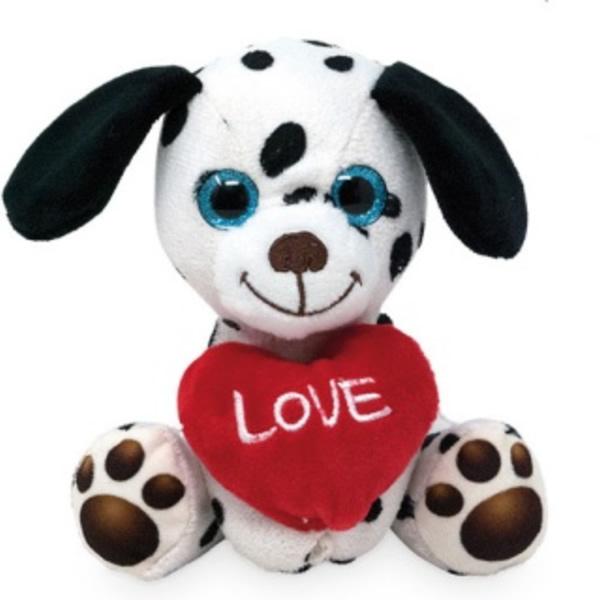 Plüss ülő kutya szívvel 14 cm, Dalmata