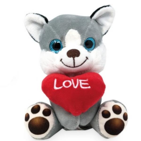 Plüss ülő kutya szívvel 14 cm, Husky