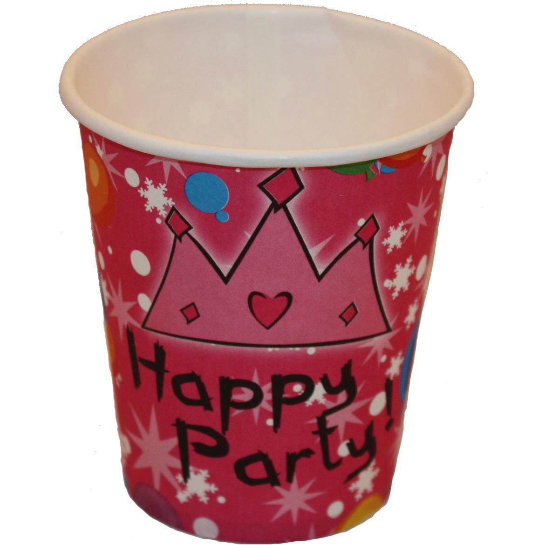 Papír pohár 10 db/cs - Happy party , rózsaszín