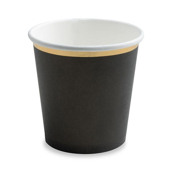 Papír pohár, fekete, 100ml, 6db