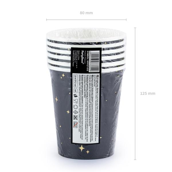 Papír pohár, fekete, 260ml, 6db