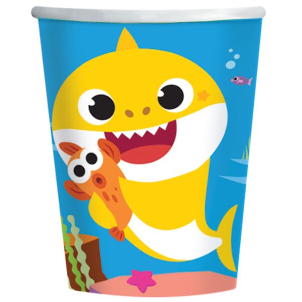 Papír pohár , Baby Shark, 8 db/cs, 2,5dl