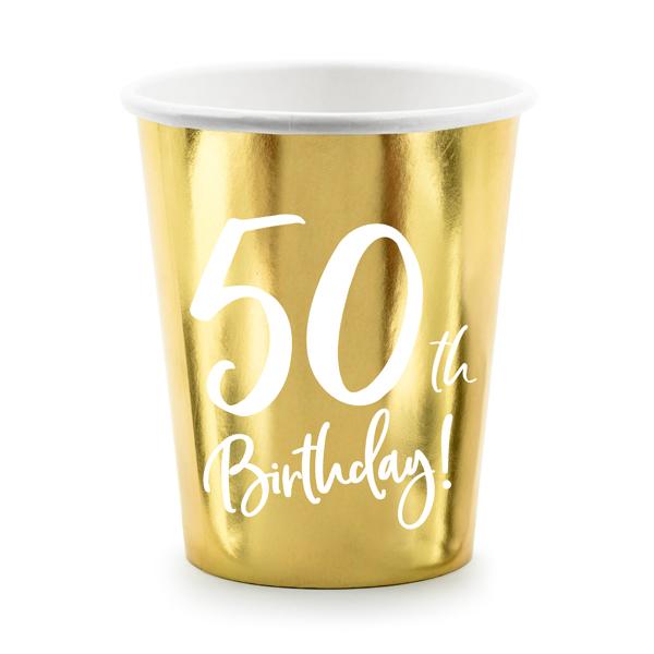 Party pohár, 50-es számmal, arany,  6db/cs, 220 ml