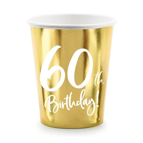 Party pohár, 60-as számmal, arany,  6db/cs, 220 ml