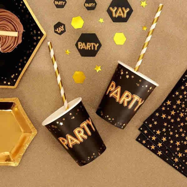 Papír pohár, fekete, PARTY felirattal, 200ml, 8db/cs