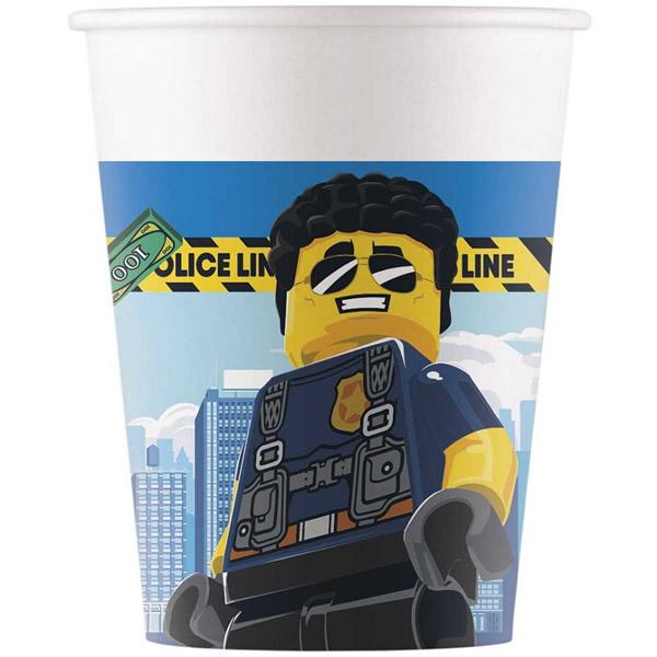 Papír pohár, Lego City, 8 db/csomag