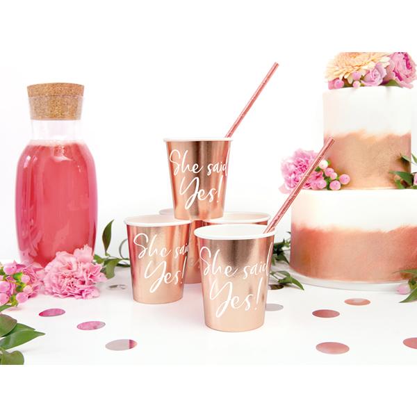 Party pohár, rosegold, She said yes!, 6db/cs, 220 ml