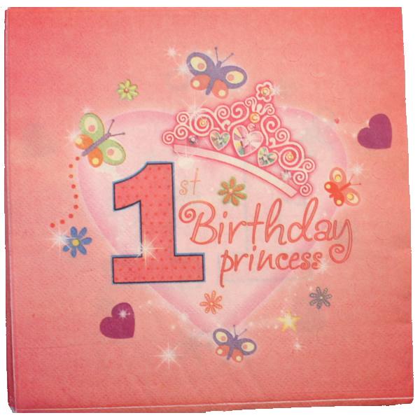 Papír szalvéta 20 db/cs,  1. születésnap, princess