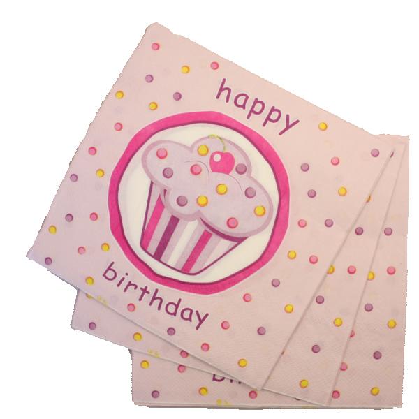 Papír szalvéta 20 db/cs, muffinos, rózsaszín