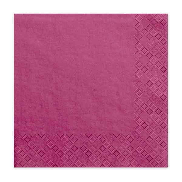 Szalvéta, 20 DB, 33X33 CM, 3 rétegű, sötét rózsaszín