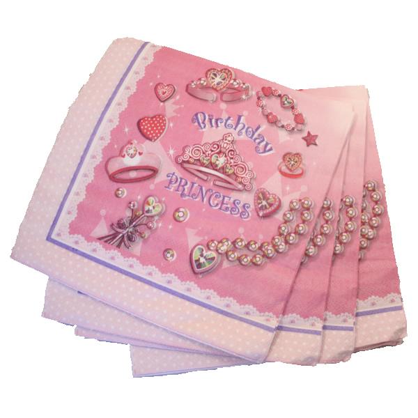 Papír szalvéta 20 db/cs, birthday princess, rózsaszín