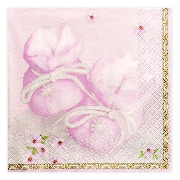 Rózsaszín cipős szalvéta, 20 db/csomag, 3r., 33x33 cm