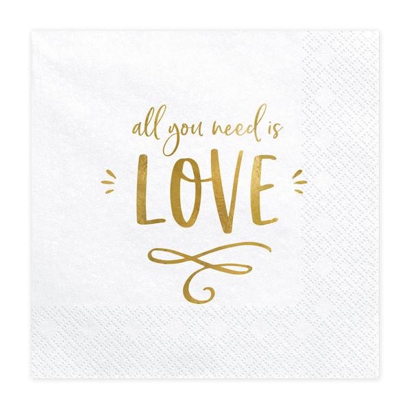 Szalvéta, fehér, All you need is love arany szöveggel, 33x33cm, 20 darab/csomag