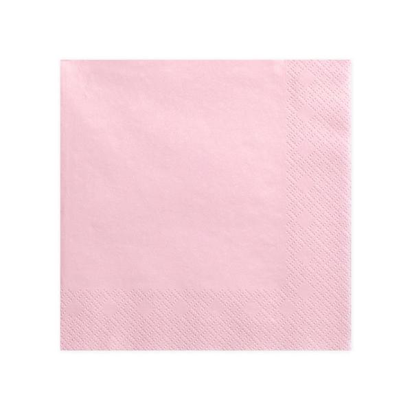 Szalvéta, baba rózsaszín, 3 rétegű, 40X40cm, 20db