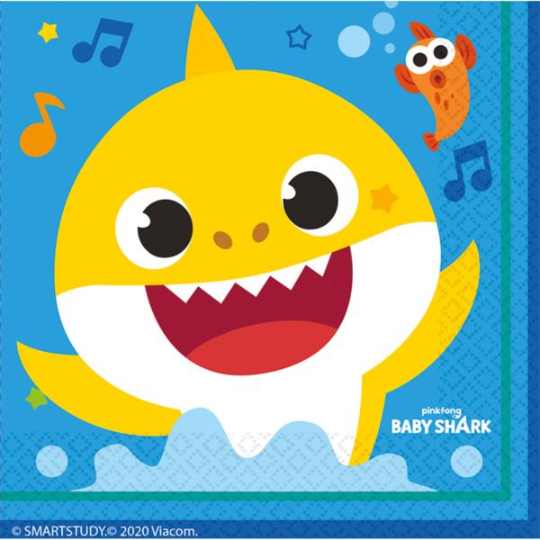 Baby Shark szalvéta, 16 db/cs, 33x33 cm