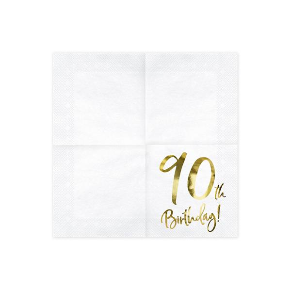 Parti szalvéta, arany betükkel, 90. évszámos, 33x33 cm