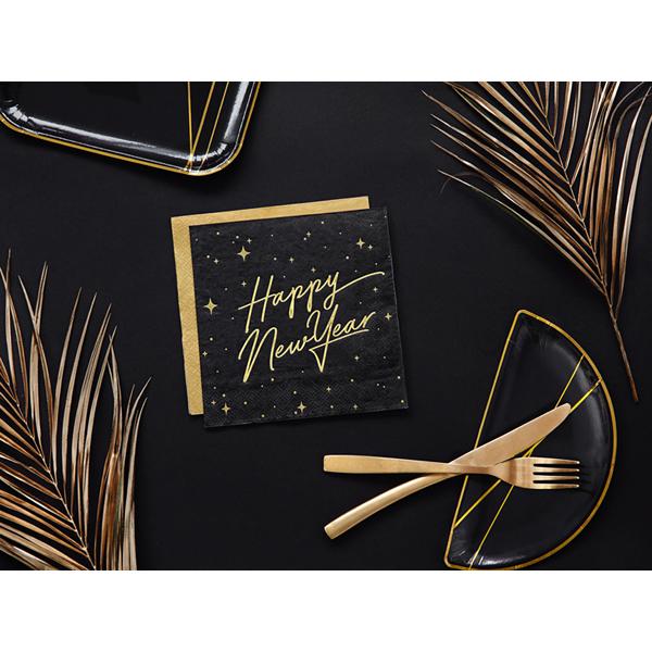 Szalvéta, fekete, arany betükkel, 33x33cm, 20 darab/csomag