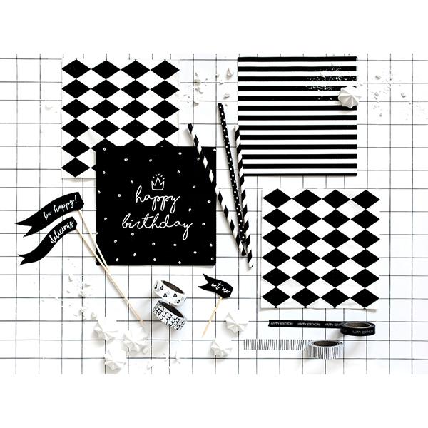 Fekete szalvéta, happy birthday, 20 db, 33x33 cm