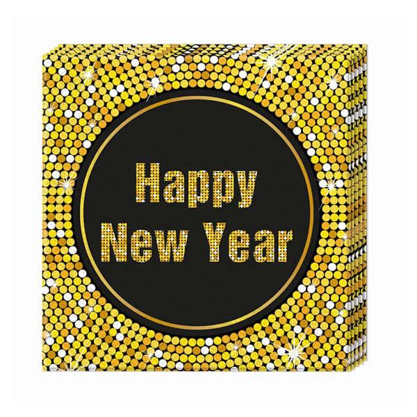 Happy New Year retró szalvéta 33 x 33, 20db/cs