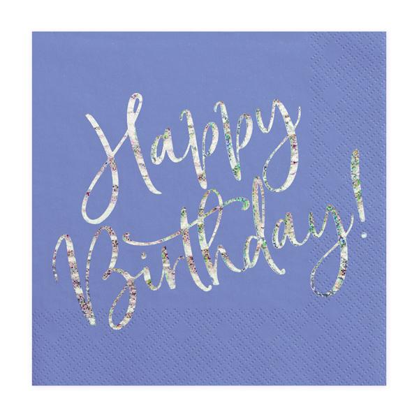 Szalvéta, navy blue, happy birthday, 20 db, 33x33 cm
