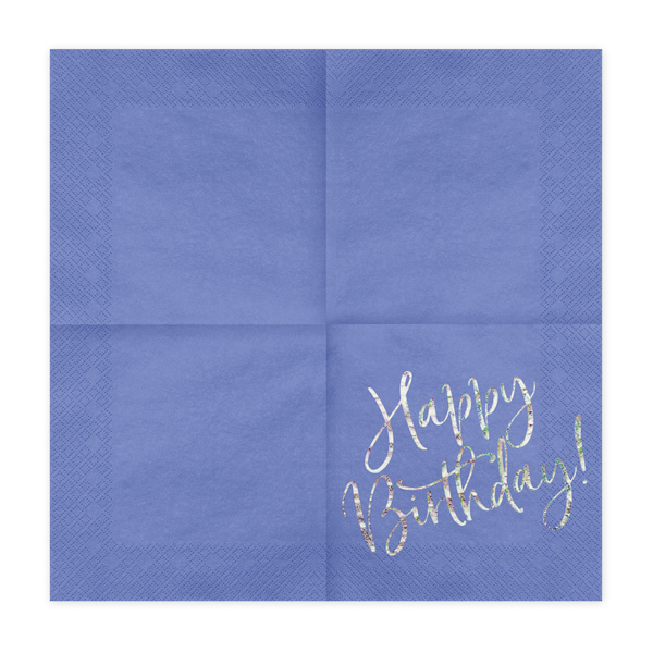 Szalvéta, navy blue, happy birthday, 20 db, 33x33 cm