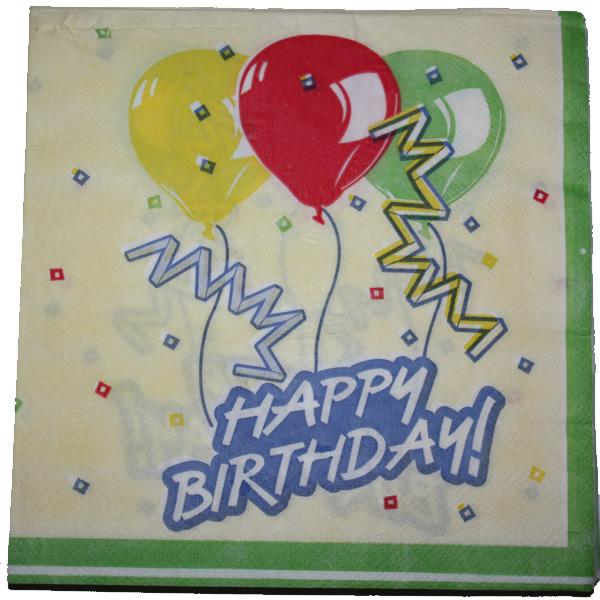 Papír szalvéta 20 db/cs, krém, happy birthday, lufis