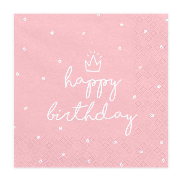 Szalvéta, light pink, happy birthday, 20 db, 33x33 cm