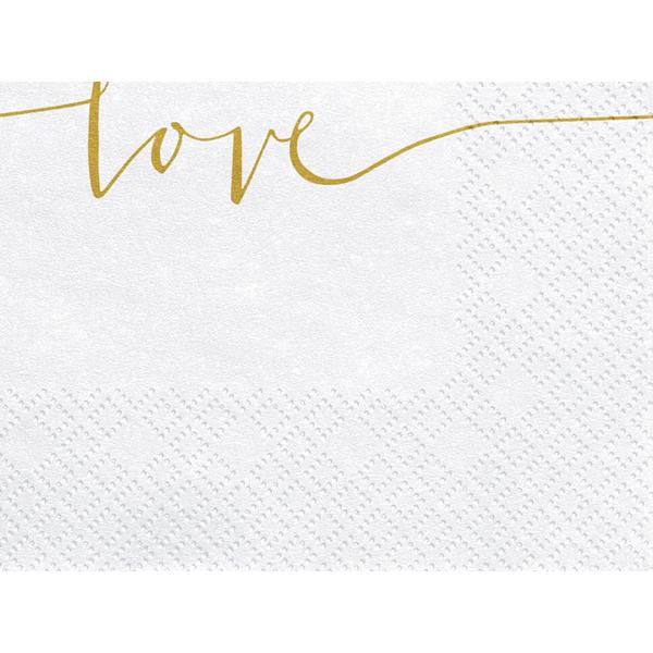 Szalvéta, fehér, Love arany szöveggel, 33x33cm, 20 darab/csomag