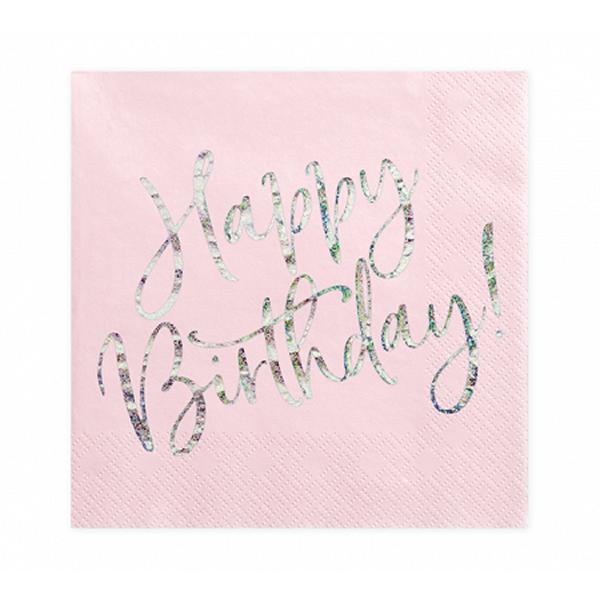 Szalvéta, világos púder pink, happy birthday, 20 db, 33x33 cm