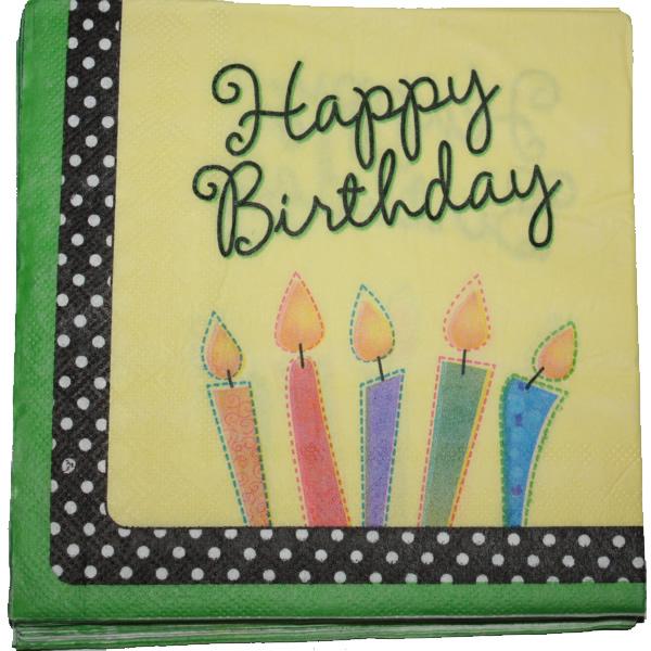 Papír szalvéta 20 db/cs, Happy birthday, zöld-sárga