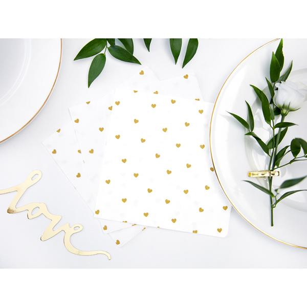 Szalvéta, fehér, arany szivecskés, 33x33cm, 20 darab/csomag
