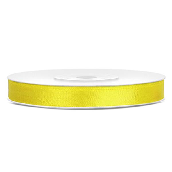 Dekor szaténszalag, sárga, 6mm/25m