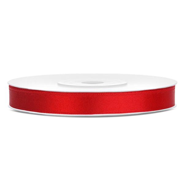 Dekor szaténszalag, piros, 6mm/25m