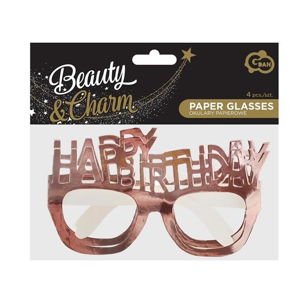 Papír szemüveg , rose gold, Happy Birthday 4 db/cs